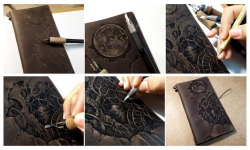 Giây Thuận An | Sổ tay da khắc hình đang rất hot trong giới trẻ đấy.